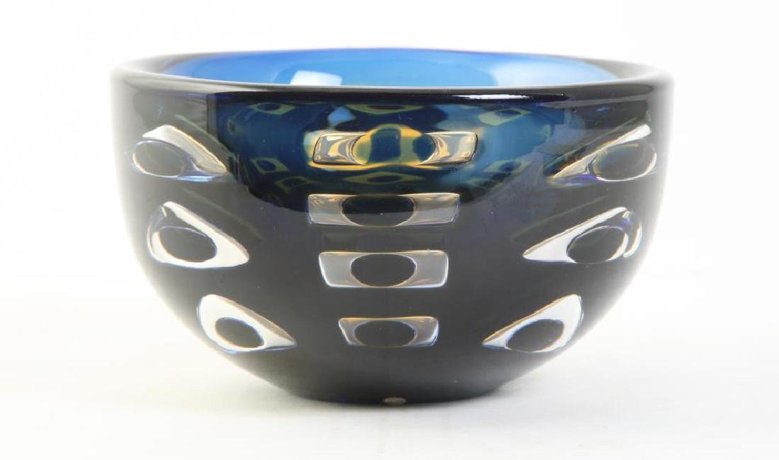 ORREFORS CRYSTAL BOWL SIGNED INGEBORG LUNDIN Blue and