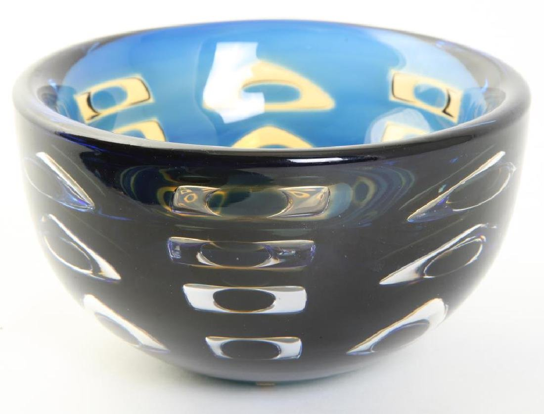 ORREFORS CRYSTAL BOWL SIGNED INGEBORG LUNDIN Blue and - 2