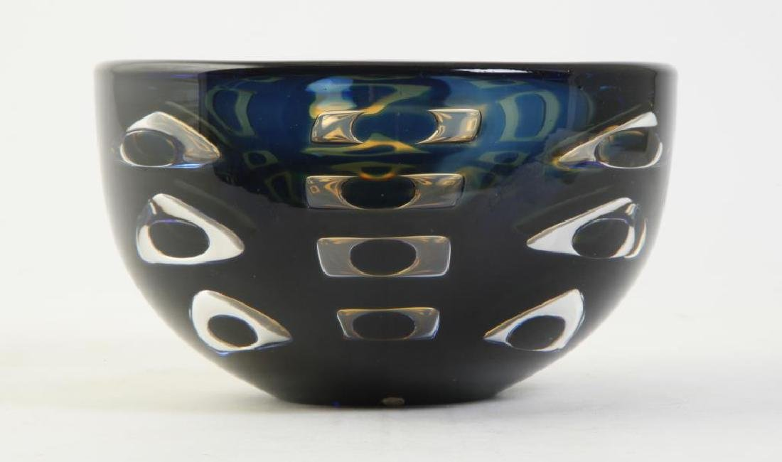 ORREFORS CRYSTAL BOWL SIGNED INGEBORG LUNDIN Blue and - 3