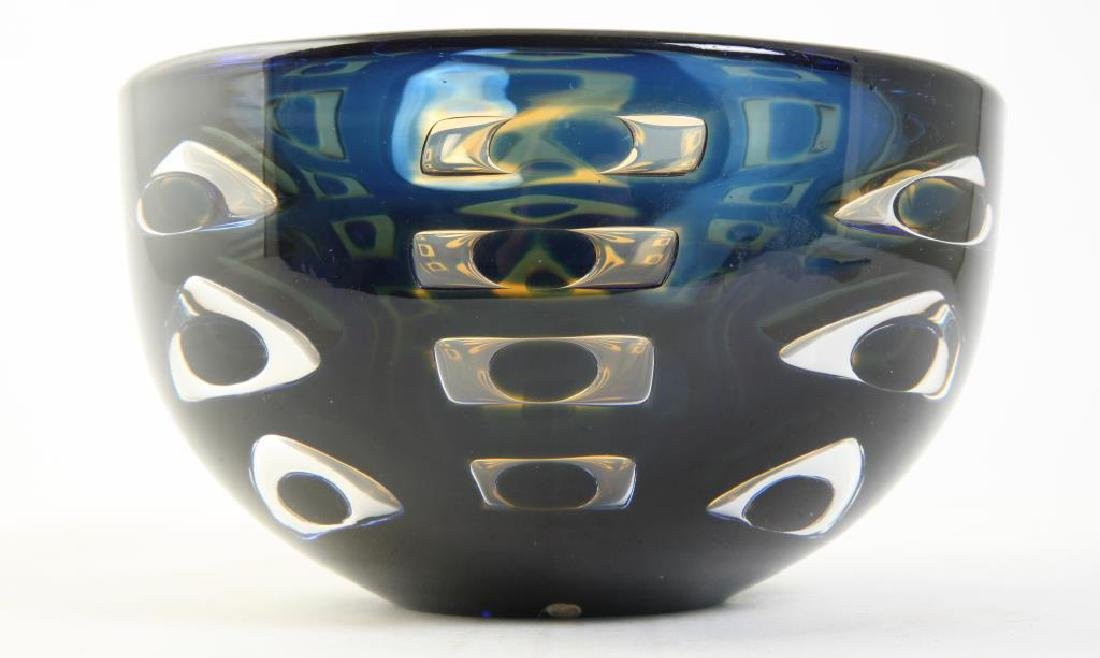 ORREFORS CRYSTAL BOWL SIGNED INGEBORG LUNDIN Blue and - 5