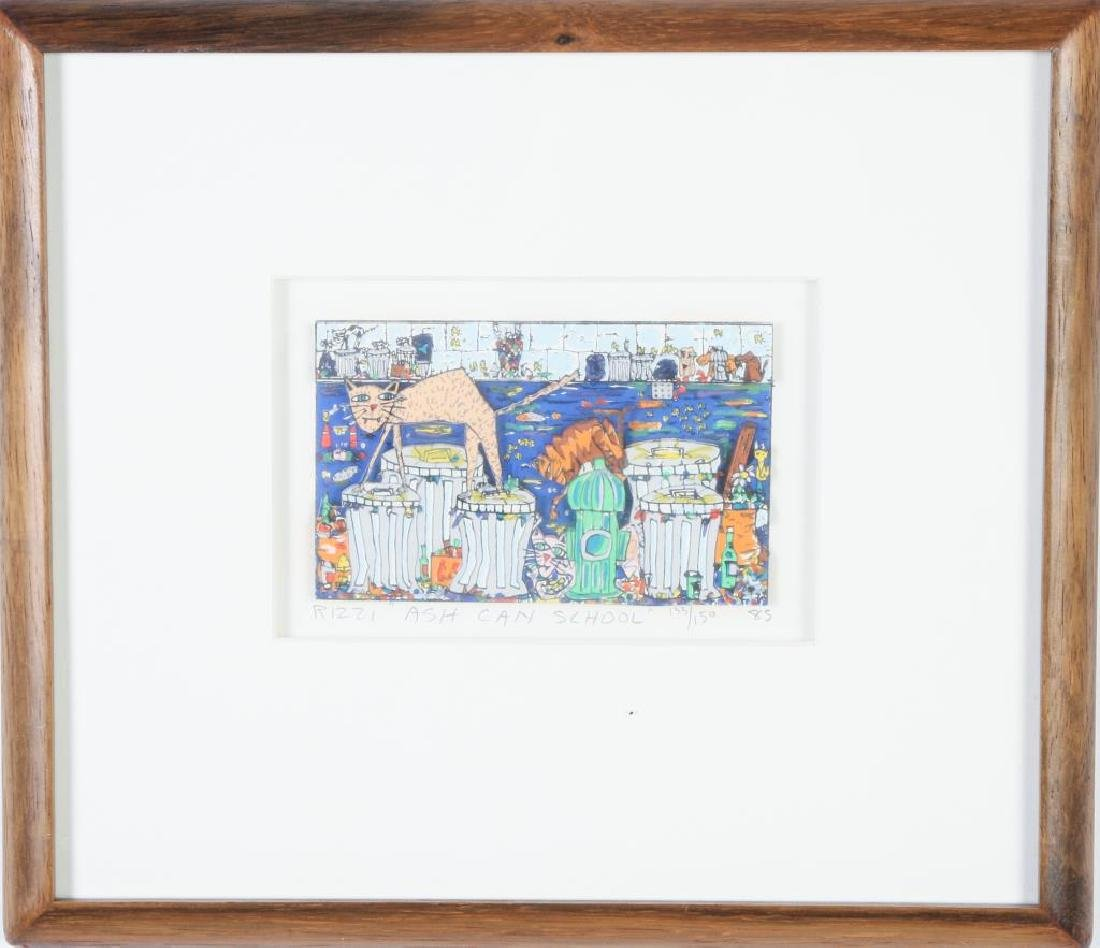 "JAMES RIZZI (1950-2011) ""Ash Can School"" mixed media 3 - 3"