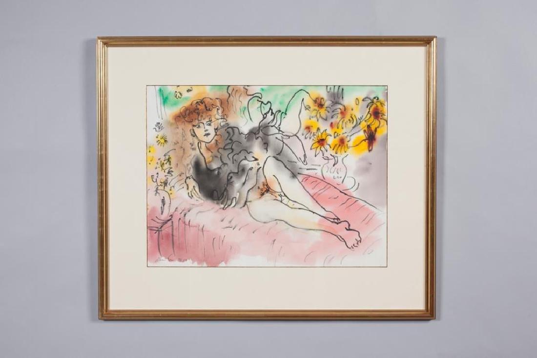 """EDWARD PIPER (1938-1990) """"Girl in Black"""" watercolor /"""