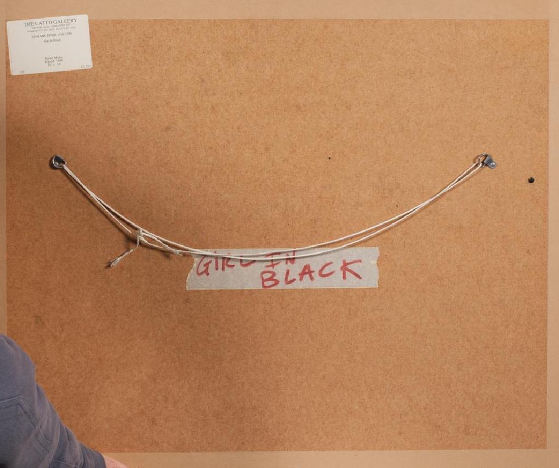 """EDWARD PIPER (1938-1990) """"Girl in Black"""" watercolor / - 3"""