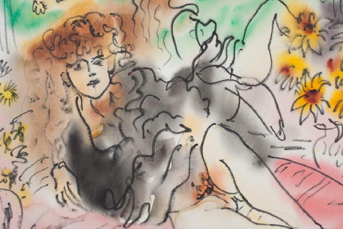 """EDWARD PIPER (1938-1990) """"Girl in Black"""" watercolor / - 4"""