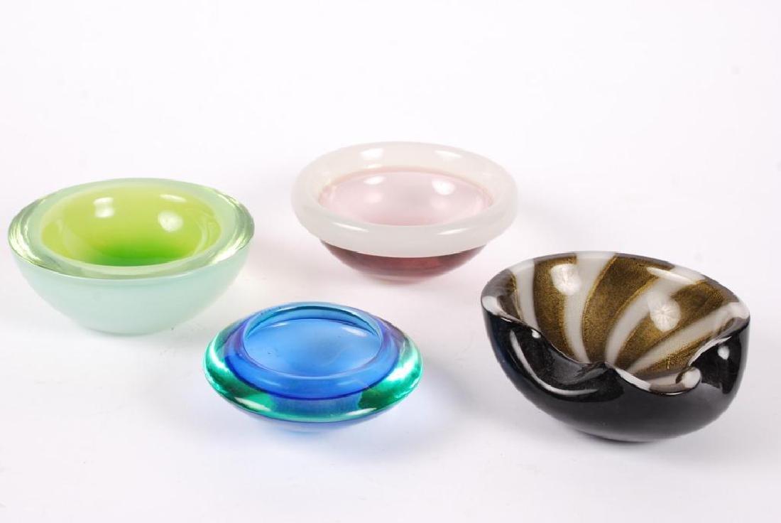 (4) MID CENTURY ART GLASS BOWLS POSSIBLY MURANO