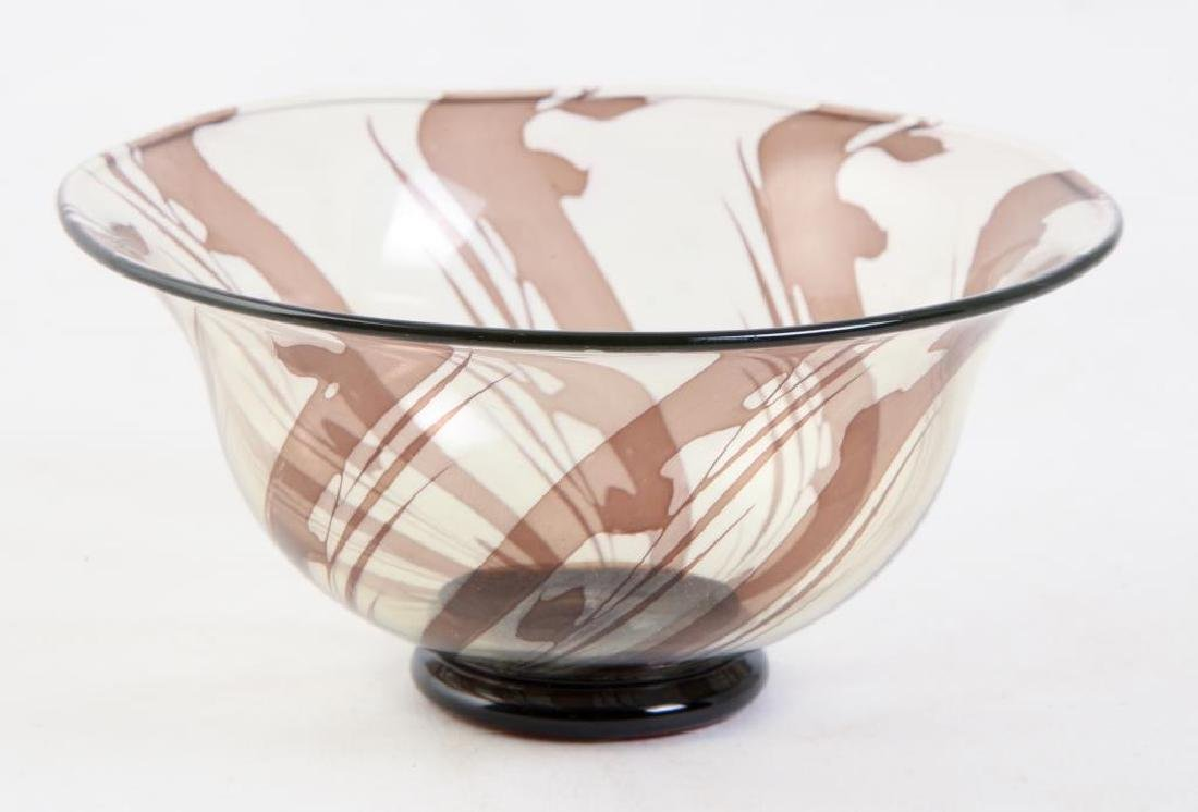 ORREFORS S.GRAAL BOWL SIGNED EDWARD HALD Swirled bowl