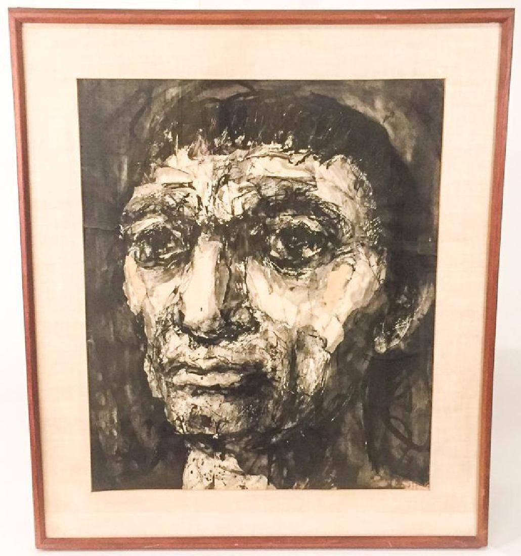 """MICHAEL RUSSO (20th c) """"Portrait"""" collage. 23 x 19 1/2"""