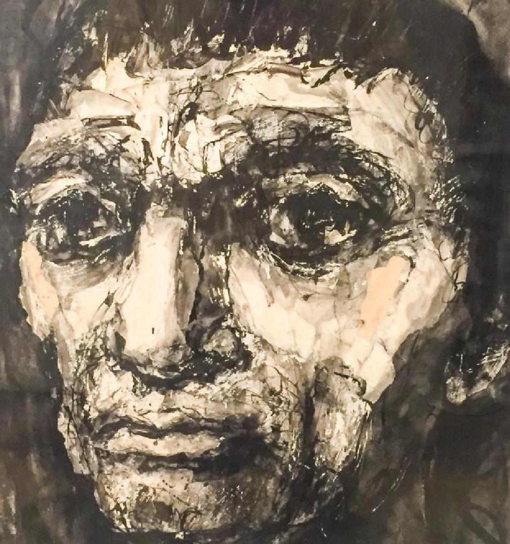 """MICHAEL RUSSO (20th c) """"Portrait"""" collage. 23 x 19 1/2 - 4"""