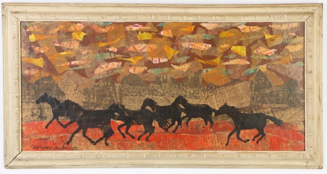 """AVRUM RUBENSTEIN (20th c) """"Running Herd"""" collage on"""