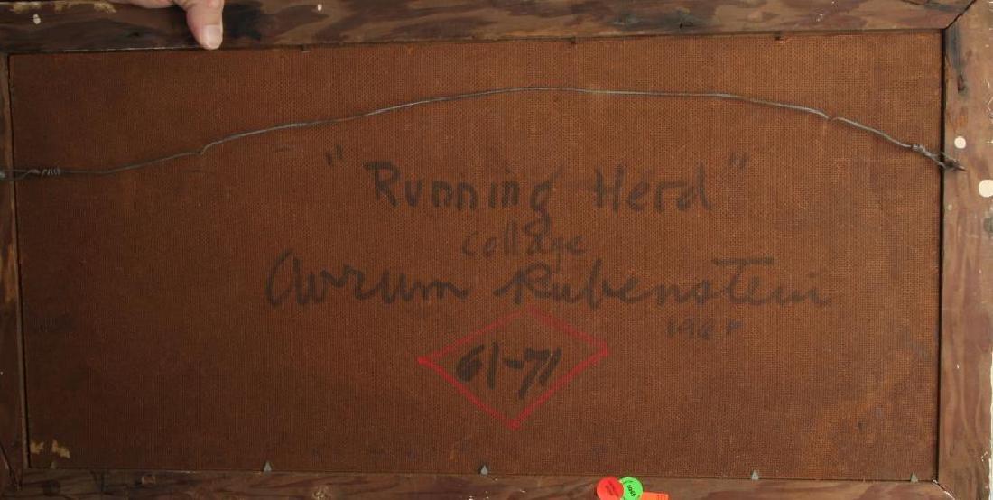 """AVRUM RUBENSTEIN (20th c) """"Running Herd"""" collage on - 2"""