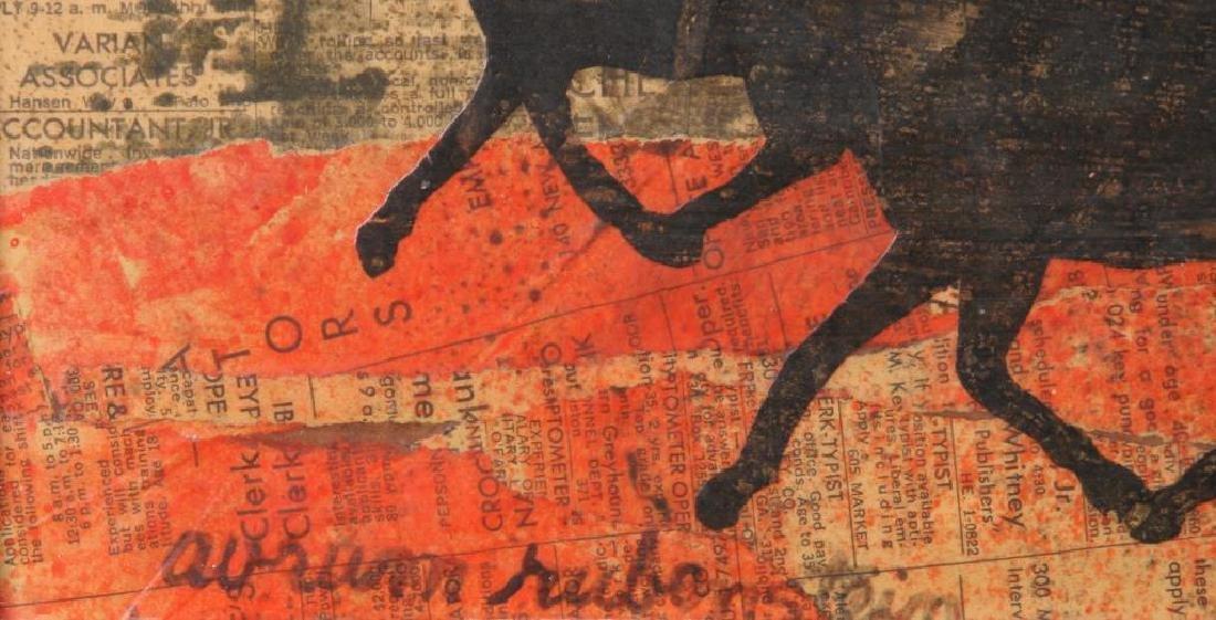 """AVRUM RUBENSTEIN (20th c) """"Running Herd"""" collage on - 3"""