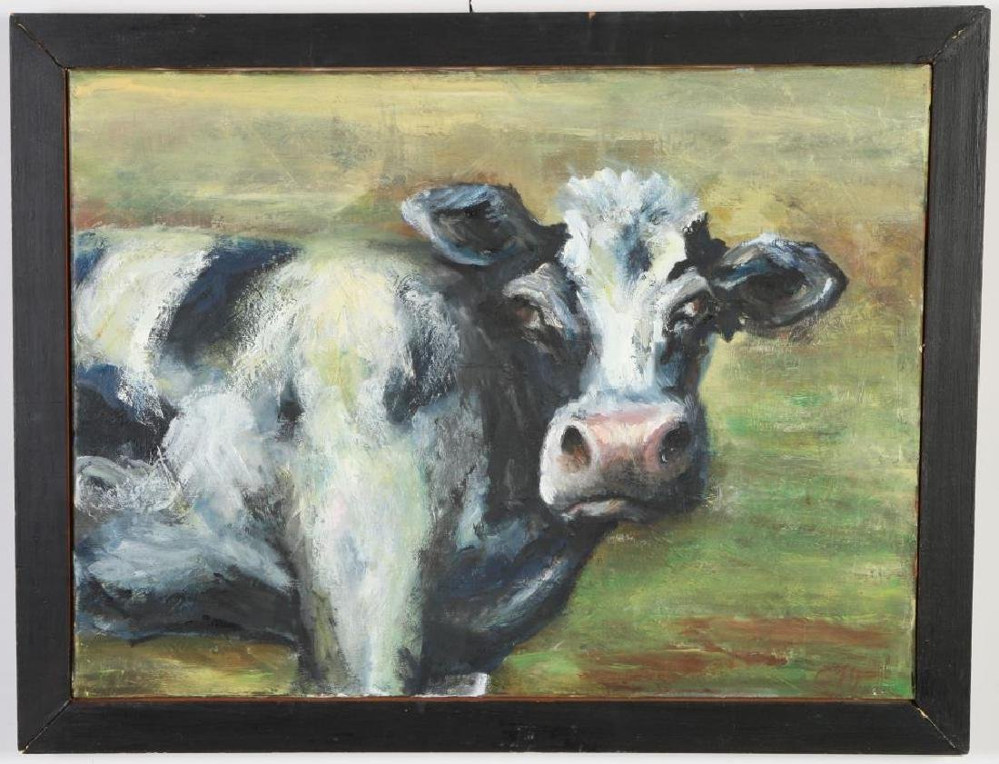 """CLEONE GRAHAM (20th / 21st c) """"Cow"""" oil on canvas 18 x"""