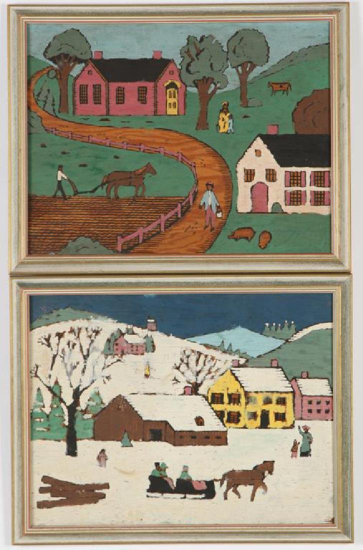 AMERICAN SCHOOL (20th c) Pair of Naive Landscapes