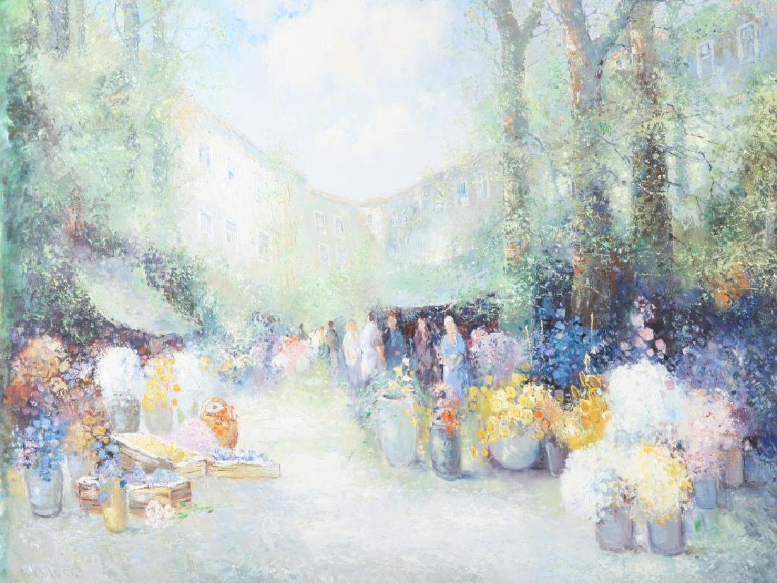 "CHINESE SCHOOL (20th / 21st c) ""Open Air Market"" oil on"