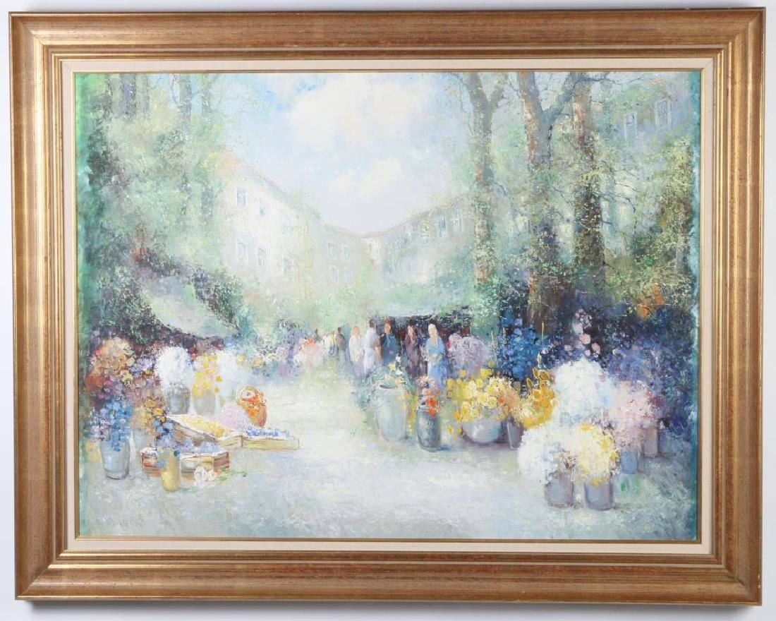 "CHINESE SCHOOL (20th / 21st c) ""Open Air Market"" oil on - 2"