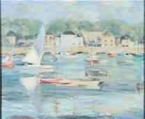 "AMERICAN SCHOOL (20th c) Busy Harbor ""Marina with"