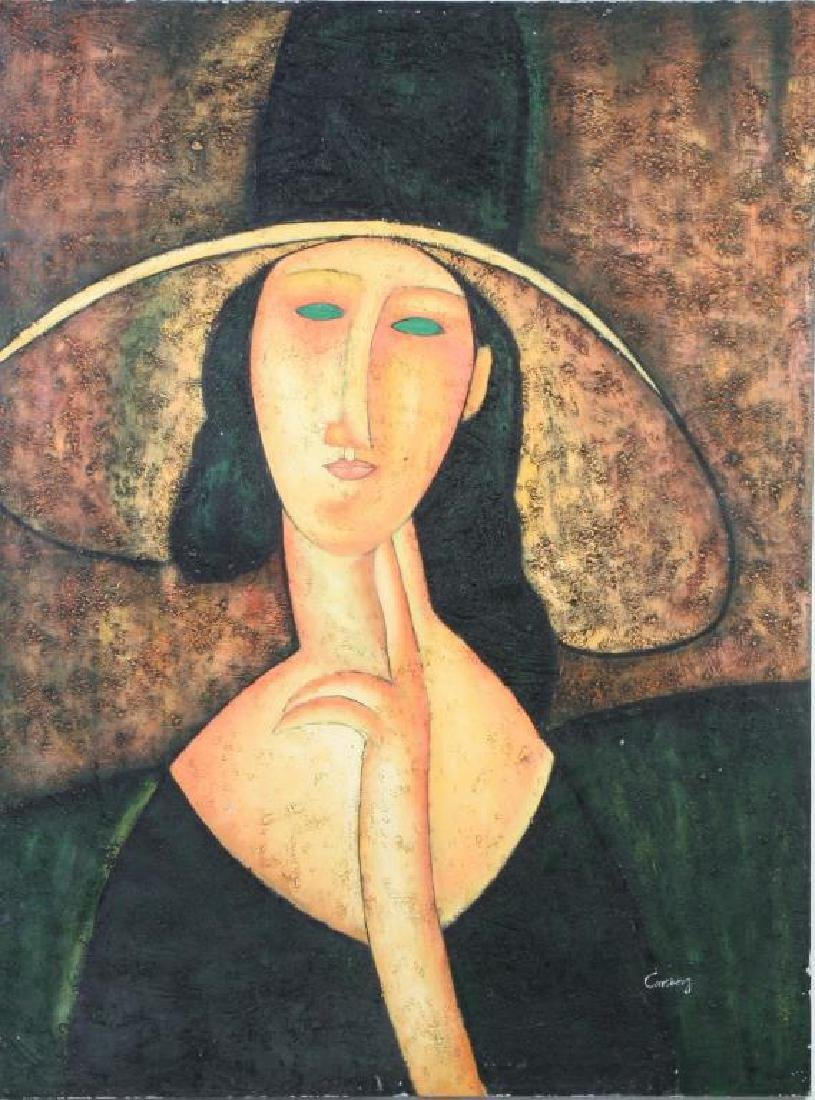 """AFTER AMEDEO MODIGLIANI (20th c) """"Woman in Hat"""" oil on"""