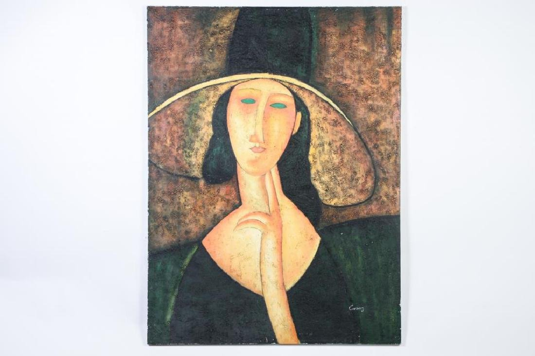 """AFTER AMEDEO MODIGLIANI (20th c) """"Woman in Hat"""" oil on - 3"""