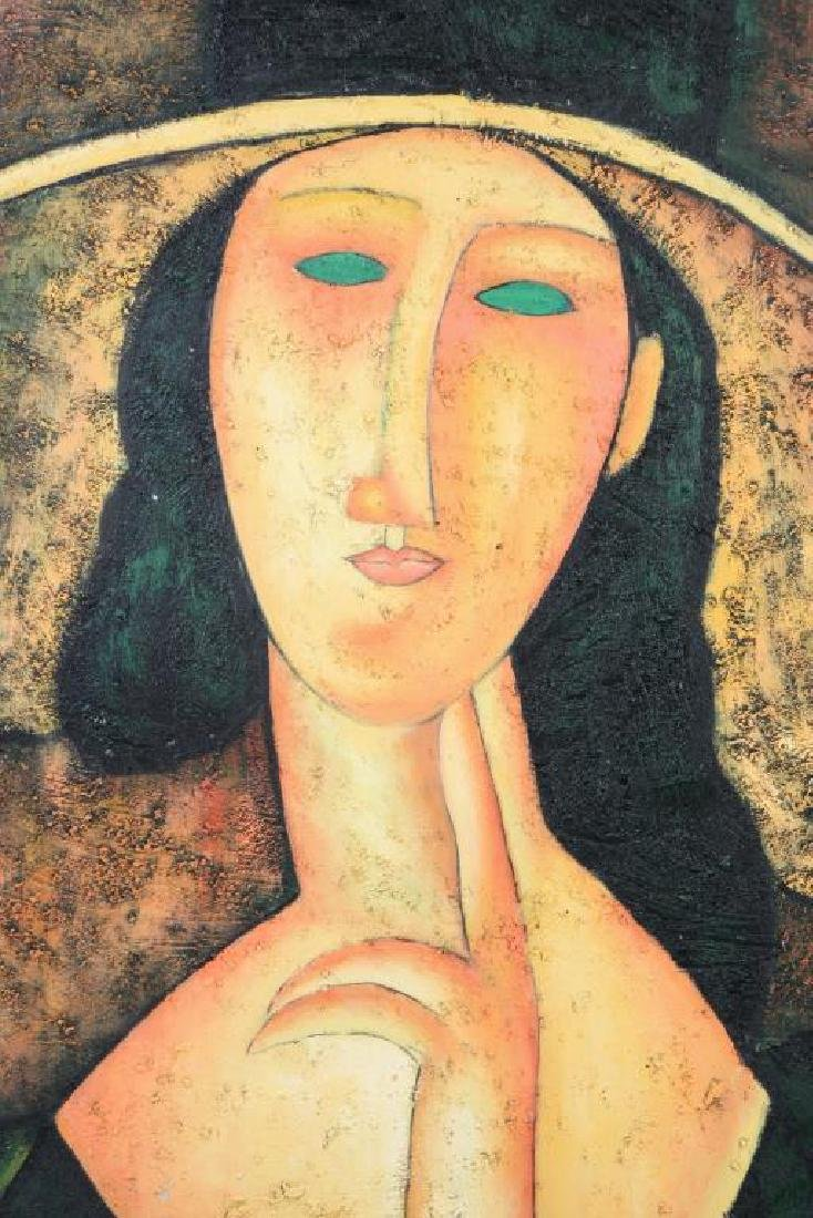 """AFTER AMEDEO MODIGLIANI (20th c) """"Woman in Hat"""" oil on - 4"""