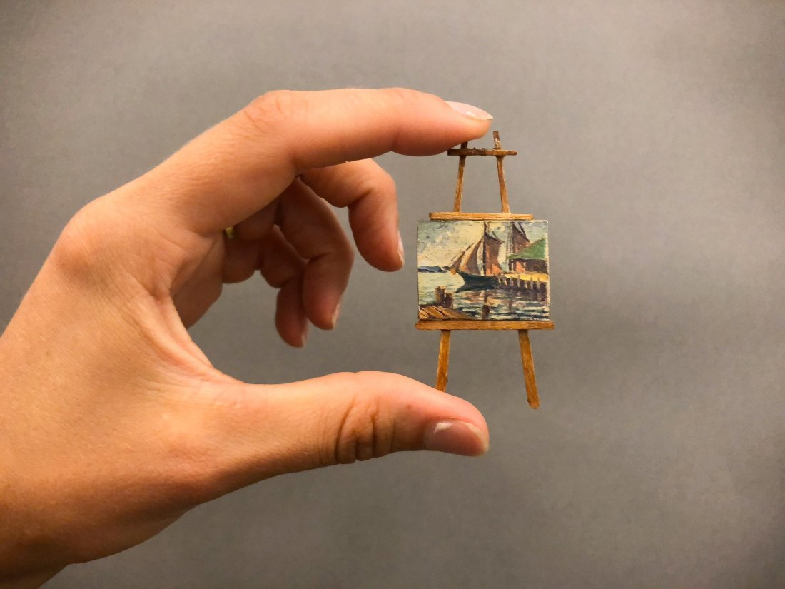 MINIATURE HARBOR SCENE AND EASEL