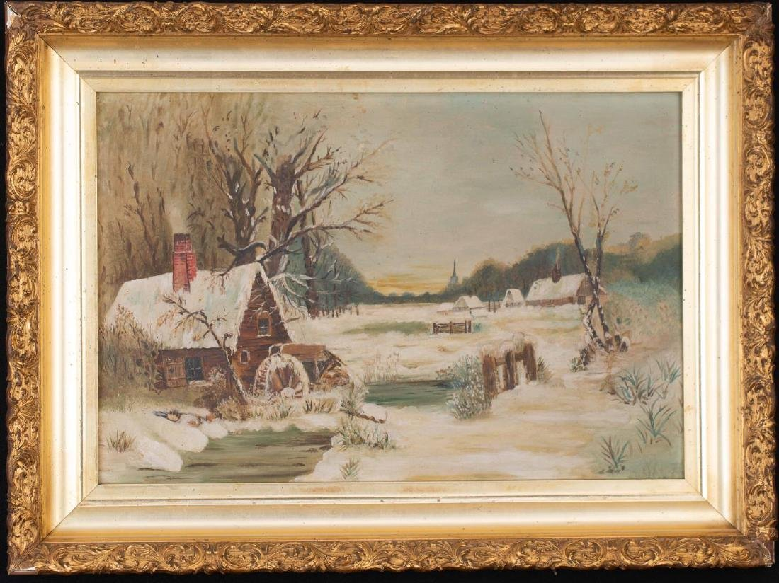 PAINTING of MILL and VILLAGE in WINTER