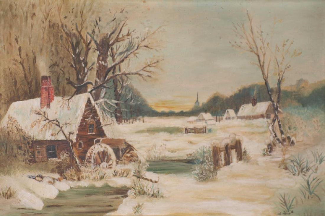 PAINTING of MILL and VILLAGE in WINTER - 2