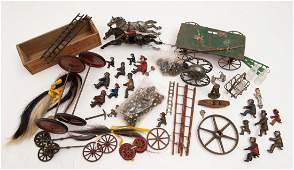 LOT OF PAINTED CAST IRON FIREMEN TOY FIGURINES