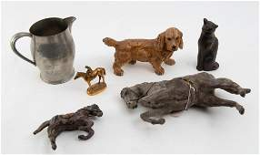 6 DOG HORSE AND CAT RELATED OBJECTS