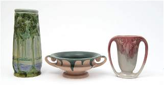 THREE AMERICAN ART POTTERY PIECES