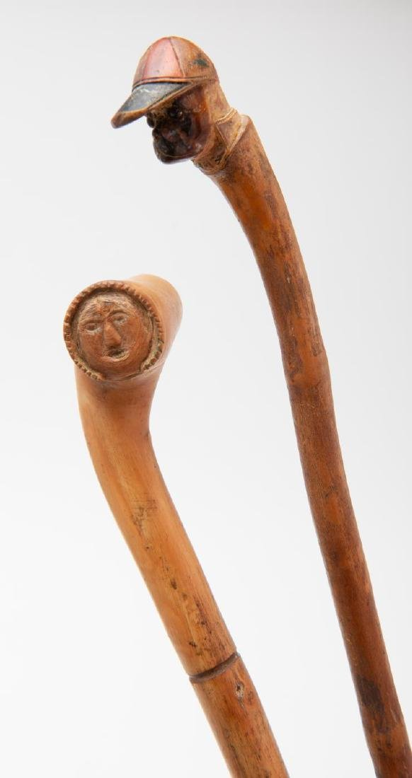 TWO (2) CARVED FIGURAL CANES - 3