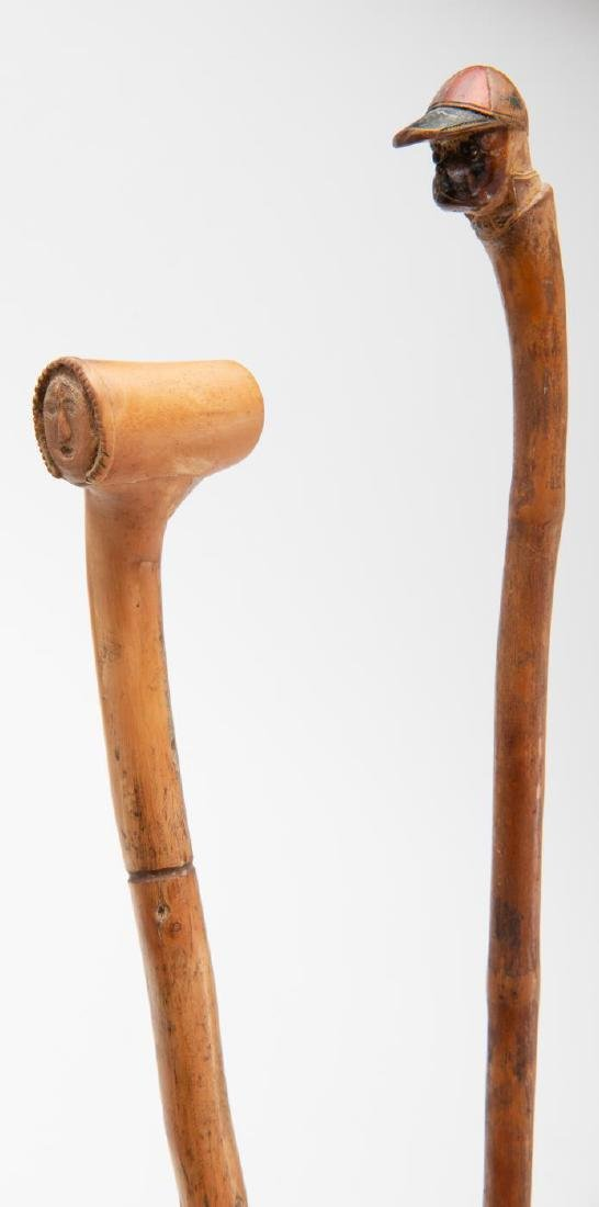 TWO (2) CARVED FIGURAL CANES - 4