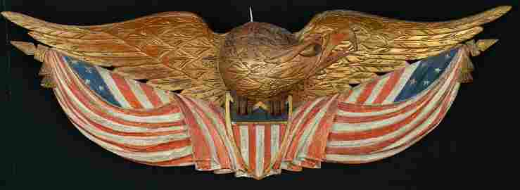 BELLAMY CARVED EAGLE WITH SHIELD WITH 2 FLAGS