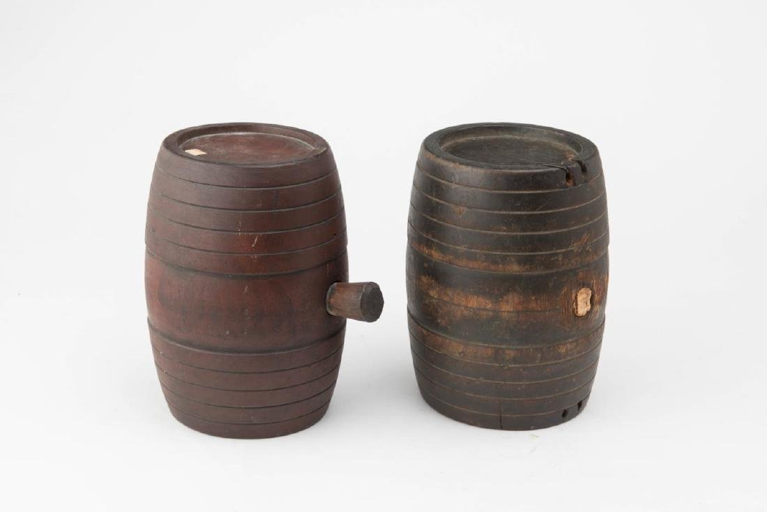 TWO (2) 19TH c WOODEN CANTEEN KEGS
