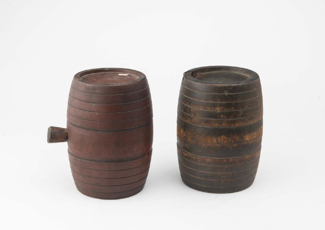 TWO (2) 19TH c WOODEN CANTEEN KEGS - 2