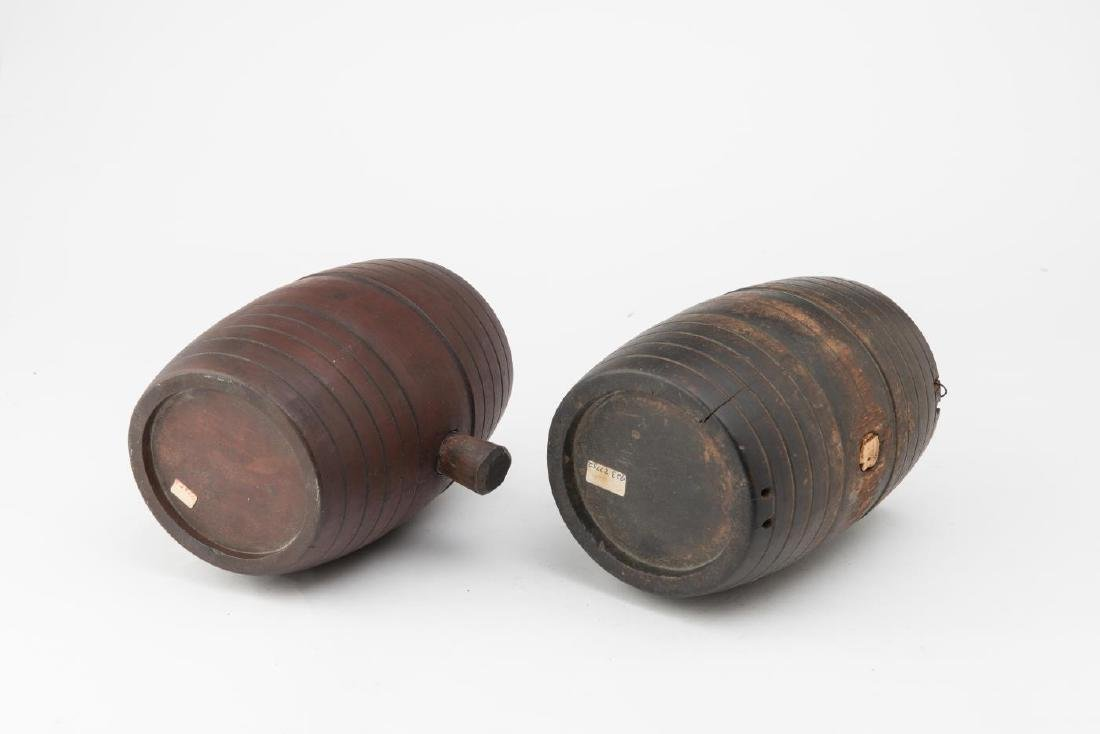 TWO (2) 19TH c WOODEN CANTEEN KEGS - 3