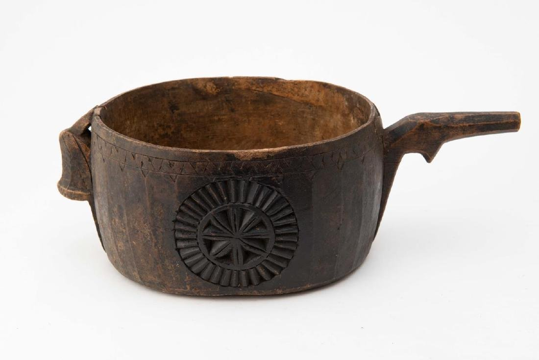 EARLY CARVED AND DECORATED LARGE PRIMITIVE LADLE