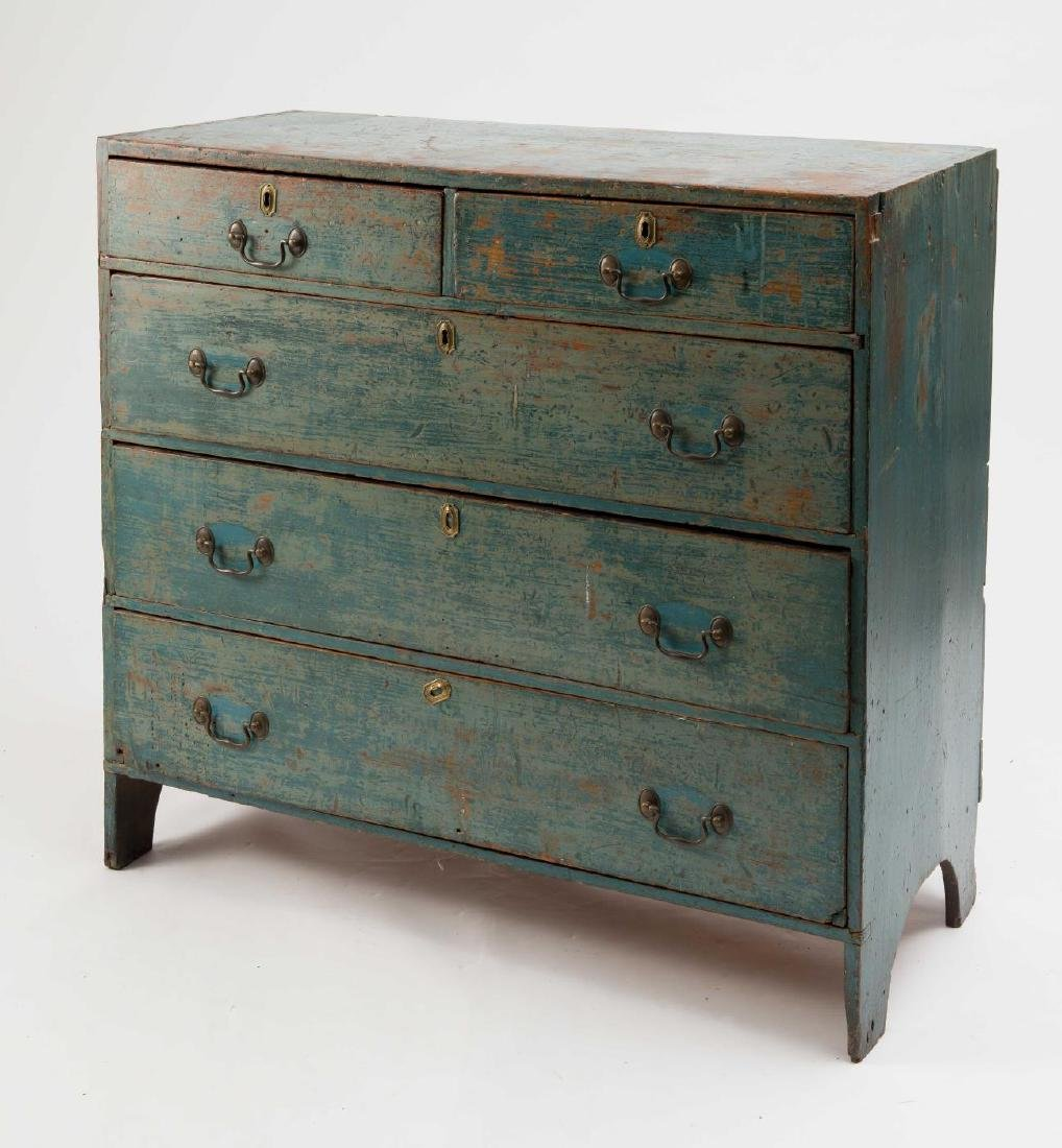 EARLY 19TH C. PINE CHEST IN OLD BLUE PAINT