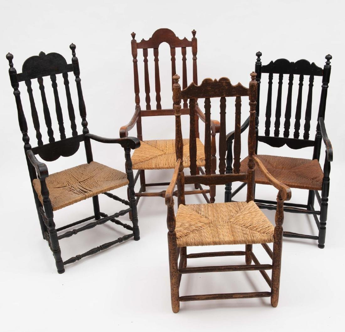 FOUR SPLIT SPINDLE BANNISTER BACK ARM CHAIRS