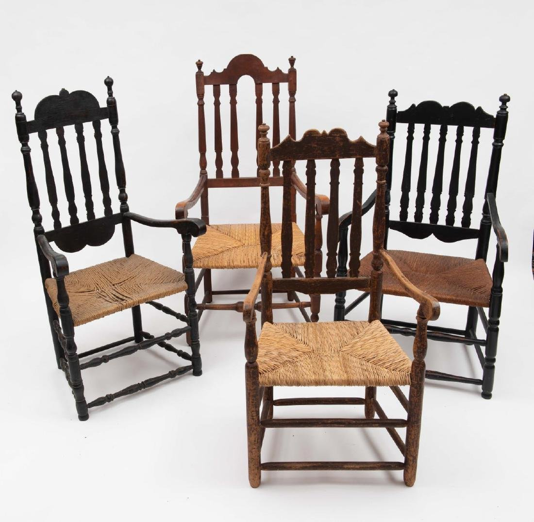 FOUR SPLIT SPINDLE BANNISTER BACK ARM CHAIRS - 4