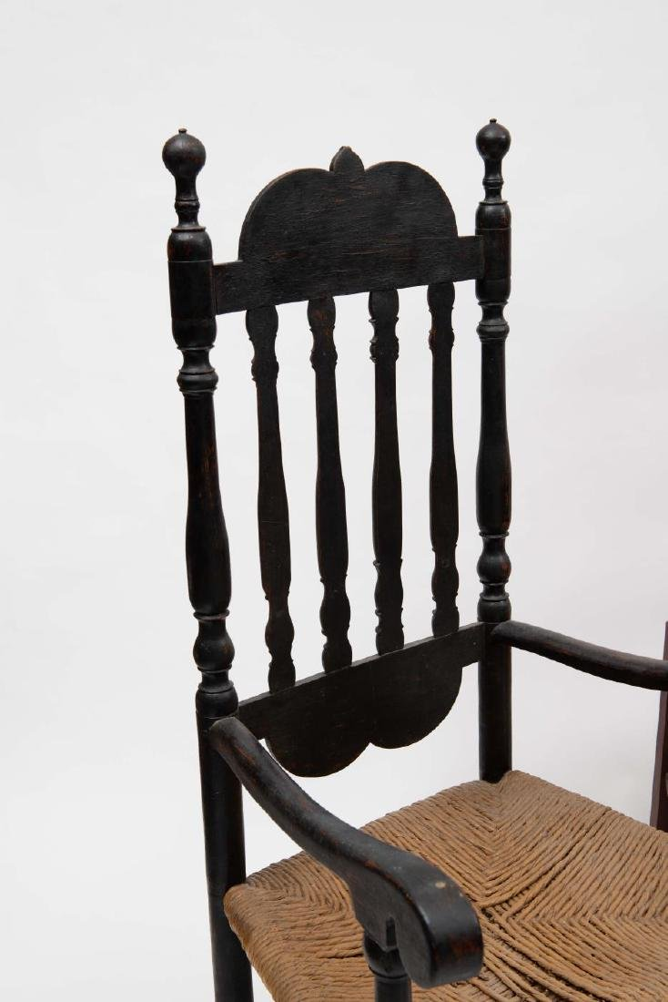 FOUR SPLIT SPINDLE BANNISTER BACK ARM CHAIRS - 5