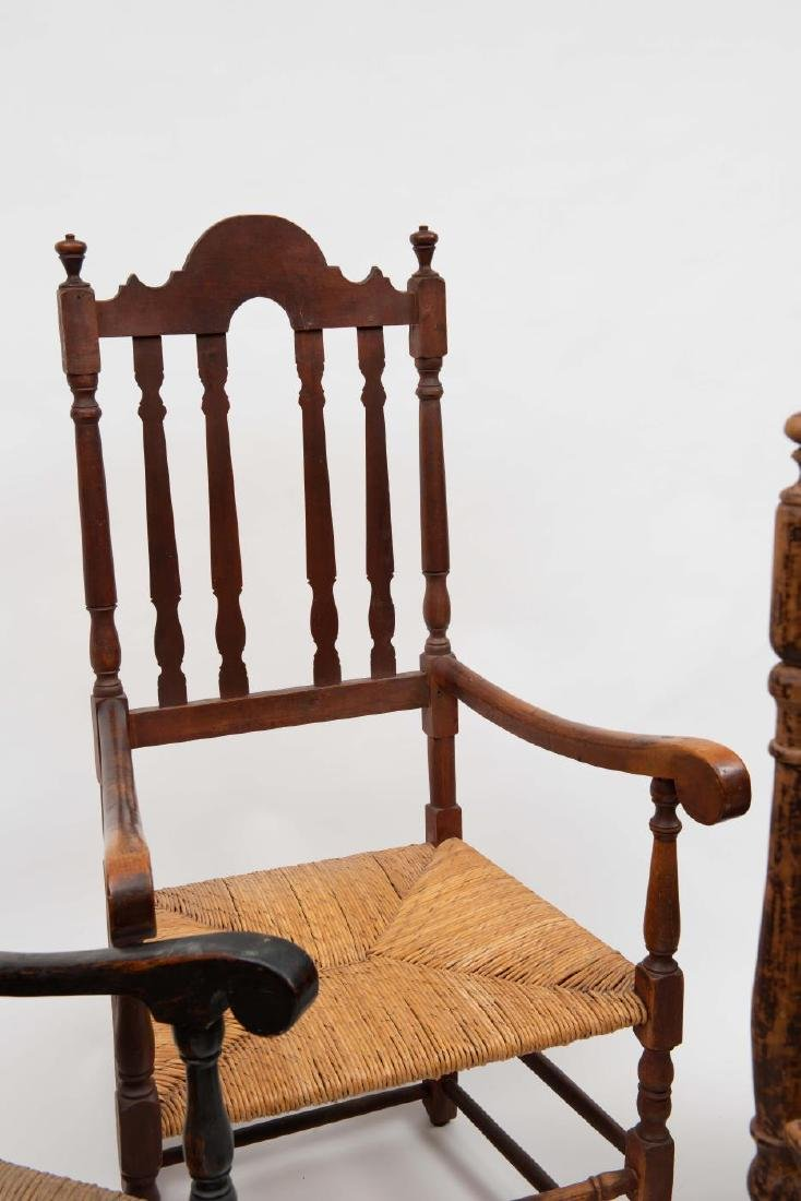 FOUR SPLIT SPINDLE BANNISTER BACK ARM CHAIRS - 6