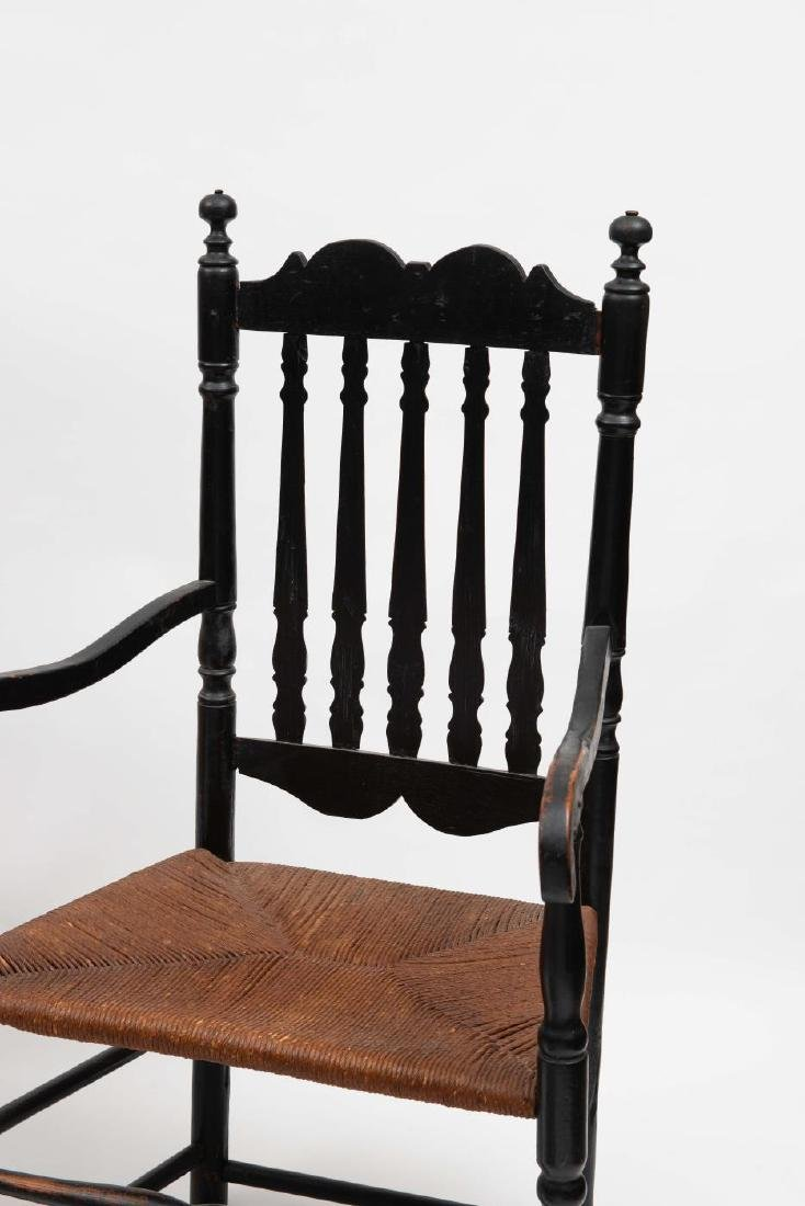 FOUR SPLIT SPINDLE BANNISTER BACK ARM CHAIRS - 7