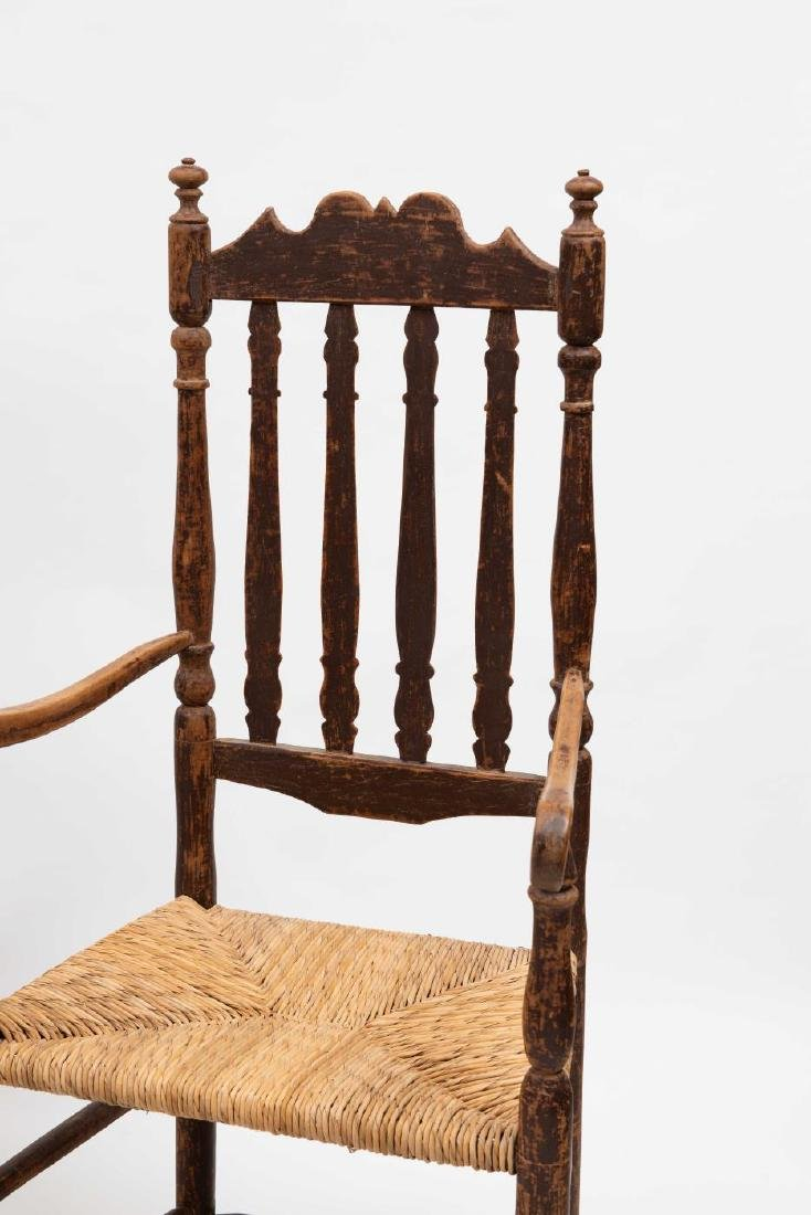 FOUR SPLIT SPINDLE BANNISTER BACK ARM CHAIRS - 8