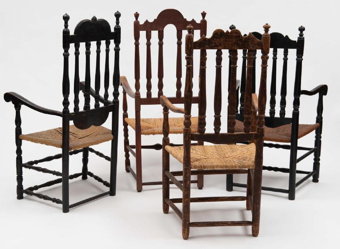 FOUR SPLIT SPINDLE BANNISTER BACK ARM CHAIRS - 9