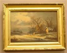17: American School (19th century) Winter landscape wit