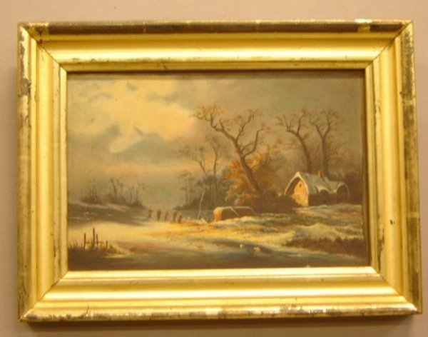 17: American School (19th century) Winter landscape wit