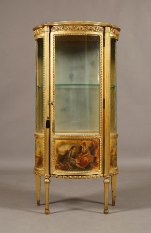 254: American Victorian French style gilt curio cabinet