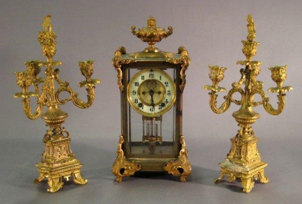 257: Victorian period American clock garniture