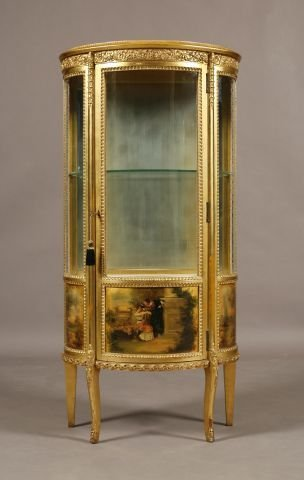 259: American Victorian French style gilt curio cabinet