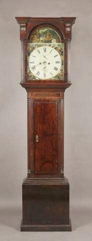 260: 19th Century English mahogany inlaid tall case clo